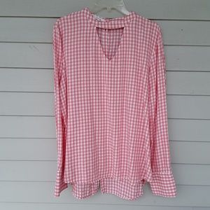 Maurice's pink gingham choker neck top